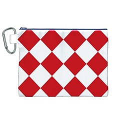 Harlequin Diamond Red White Canvas Cosmetic Bag (XL)
