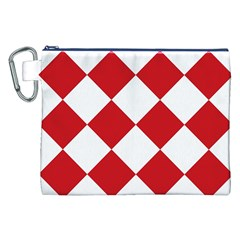 Harlequin Diamond Red White Canvas Cosmetic Bag (XXL)