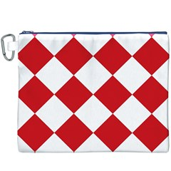 Harlequin Diamond Red White Canvas Cosmetic Bag (XXXL)