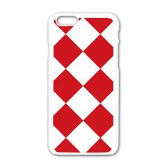Harlequin Diamond Red White Apple iPhone 6 White Enamel Case