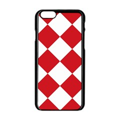 Harlequin Diamond Red White Apple iPhone 6 Black Enamel Case