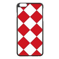 Harlequin Diamond Red White Apple iPhone 6 Plus Black Enamel Case