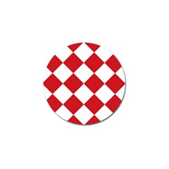 Harlequin Diamond Red White Golf Ball Marker 4 Pack