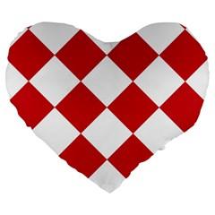 Harlequin Diamond Red White 19  Premium Heart Shape Cushion