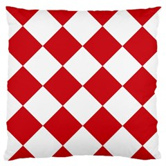 Harlequin Diamond Red White Large Flano Cushion Case (One Side)