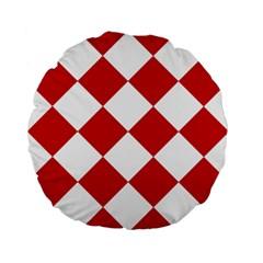 Harlequin Diamond Red White 15  Premium Flano Round Cushion