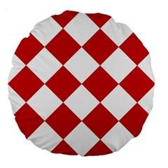 Harlequin Diamond Red White 18  Premium Flano Round Cushion