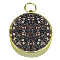 Victorian Style Grunge Pattern Gold Compass