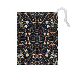 Victorian Style Grunge Pattern Drawstring Pouch (Large)