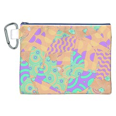 Tropical Summer Fruit Orange Lime Berry Canvas Cosmetic Bag (XXL)