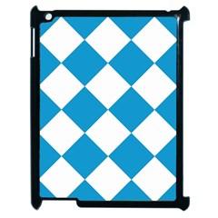 Harlequin Diamond Argyle Turquoise Blue White Apple Ipad 2 Case (black)