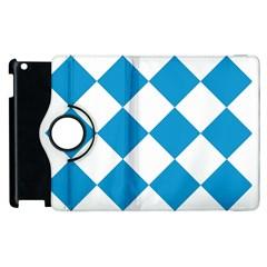 Harlequin Diamond Argyle Turquoise Blue White Apple iPad 2 Flip 360 Case