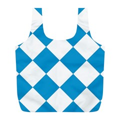 Harlequin Diamond Argyle Turquoise Blue White Reusable Bag (L)