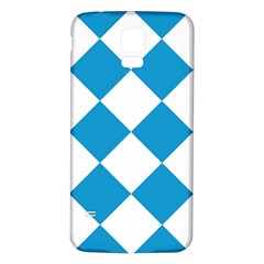 Harlequin Diamond Argyle Turquoise Blue White Samsung Galaxy S5 Back Case (White)