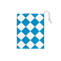 Harlequin Diamond Argyle Turquoise Blue White Drawstring Pouch (small)