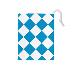 Harlequin Diamond Argyle Turquoise Blue White Drawstring Pouch (Medium)
