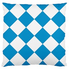 Harlequin Diamond Argyle Turquoise Blue White Large Flano Cushion Case (one Side)