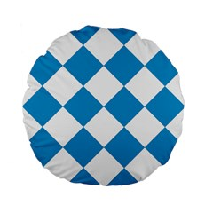 Harlequin Diamond Argyle Turquoise Blue White 15  Premium Flano Round Cushion