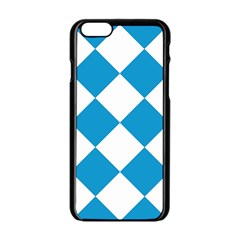 Harlequin Diamond Argyle Turquoise Blue White Apple Iphone 6 Black Enamel Case