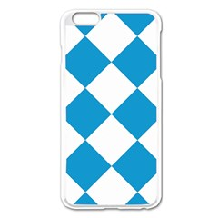 Harlequin Diamond Argyle Turquoise Blue White Apple iPhone 6 Plus Enamel White Case