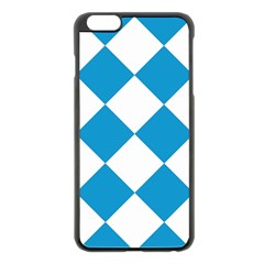 Harlequin Diamond Argyle Turquoise Blue White Apple iPhone 6 Plus Black Enamel Case