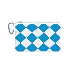 Harlequin Diamond Argyle Turquoise Blue White Canvas Cosmetic Bag (Small)