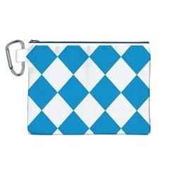 Harlequin Diamond Argyle Turquoise Blue White Canvas Cosmetic Bag (Large)