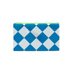 Harlequin Diamond Argyle Turquoise Blue White Cosmetic Bag (xs)