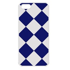 Harlequin Diamond Argyle Sports Team Colors Navy Blue Silver Apple Iphone 5 Seamless Case (white)