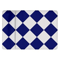 Harlequin Diamond Argyle Sports Team Colors Navy Blue Silver Samsung Galaxy Tab 10 1  P7500 Flip Case