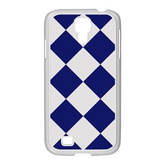 Harlequin Diamond Argyle Sports Team Colors Navy Blue Silver Samsung Galaxy S4 I9500/ I9505 Case (white)