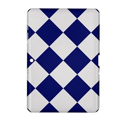 Harlequin Diamond Argyle Sports Team Colors Navy Blue Silver Samsung Galaxy Tab 2 (10.1 ) P5100 Hardshell Case