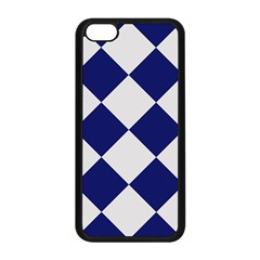 Harlequin Diamond Argyle Sports Team Colors Navy Blue Silver Apple Iphone 5c Seamless Case (black)
