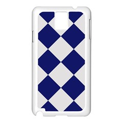 Harlequin Diamond Argyle Sports Team Colors Navy Blue Silver Samsung Galaxy Note 3 N9005 Case (White)