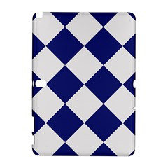 Harlequin Diamond Argyle Sports Team Colors Navy Blue Silver Samsung Galaxy Note 10 1 (p600) Hardshell Case
