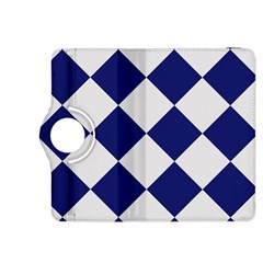 Harlequin Diamond Argyle Sports Team Colors Navy Blue Silver Kindle Fire HDX 8.9  Flip 360 Case