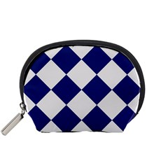 Harlequin Diamond Argyle Sports Team Colors Navy Blue Silver Accessory Pouch (Small)