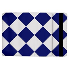 Harlequin Diamond Argyle Sports Team Colors Navy Blue Silver Apple iPad Air Flip Case