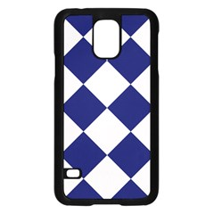 Harlequin Diamond Argyle Sports Team Colors Navy Blue Silver Samsung Galaxy S5 Case (Black)