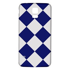Harlequin Diamond Argyle Sports Team Colors Navy Blue Silver Samsung Galaxy S5 Back Case (White)