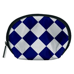 Harlequin Diamond Argyle Sports Team Colors Navy Blue Silver Accessory Pouch (Medium)