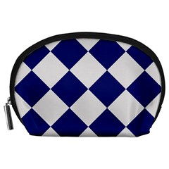 Harlequin Diamond Argyle Sports Team Colors Navy Blue Silver Accessory Pouch (large)