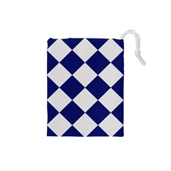 Harlequin Diamond Argyle Sports Team Colors Navy Blue Silver Drawstring Pouch (Small)