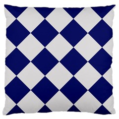 Harlequin Diamond Argyle Sports Team Colors Navy Blue Silver Large Flano Cushion Case (Two Sides)