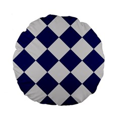 Harlequin Diamond Argyle Sports Team Colors Navy Blue Silver 15  Premium Flano Round Cushion