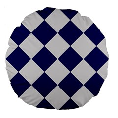 Harlequin Diamond Argyle Sports Team Colors Navy Blue Silver 18  Premium Flano Round Cushion