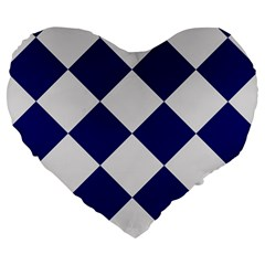 Harlequin Diamond Argyle Sports Team Colors Navy Blue Silver 19  Premium Flano Heart Shape Cushion
