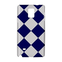 Harlequin Diamond Argyle Sports Team Colors Navy Blue Silver Samsung Galaxy Note 4 Hardshell Case