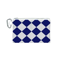 Harlequin Diamond Argyle Sports Team Colors Navy Blue Silver Canvas Cosmetic Bag (small)