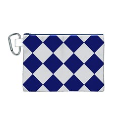 Harlequin Diamond Argyle Sports Team Colors Navy Blue Silver Canvas Cosmetic Bag (Medium)